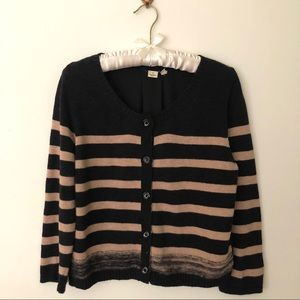 Striped cardigan sweater with fabric back
